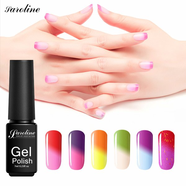Saroline Colorful Temperature Nail Glue Stained Glass Gel Varnishes Soak Off Temperature Change Color Nail Polish Semi Permanent Shellac Nails Gel