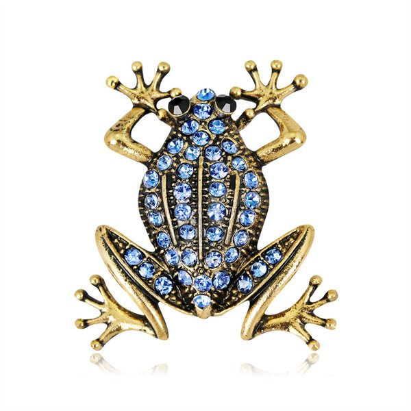 Blue Gem Frog Pin Brooch Designer Brooches Badge Metal Enamel Pin Broche Women Luxury Jewelry Wedding Party Decoration
