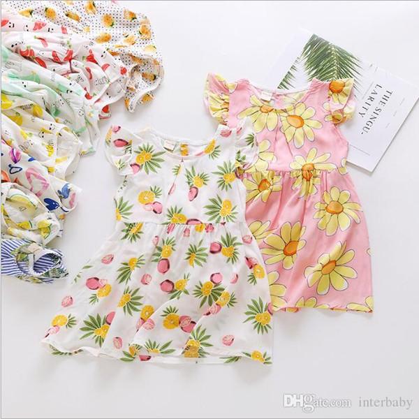 Vestidos de meninas Crianças Verão Vestido de Praia Floral Do Bebê Vestido de Princesa Criança Casual Vestidos de Festa Crianças Voar Manga Doce Vestido de Verão Camisola B4059