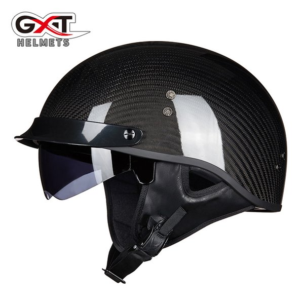 GXT Carbon Fiber half face motorcycle helmet DOT approved light weight c with inner sunglasses G510