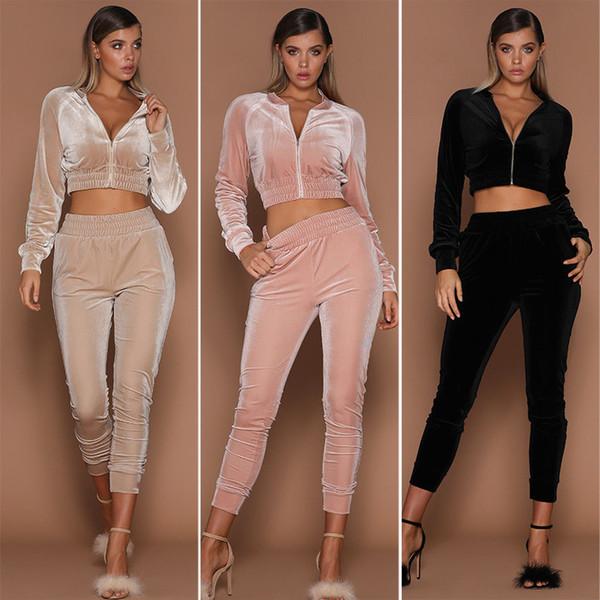 Women 2pcs Long Sleeve Zipper Autumn Crop Tops Pants Sets Velvet Tracksuit Suit Pahamas Solid Clothes Set