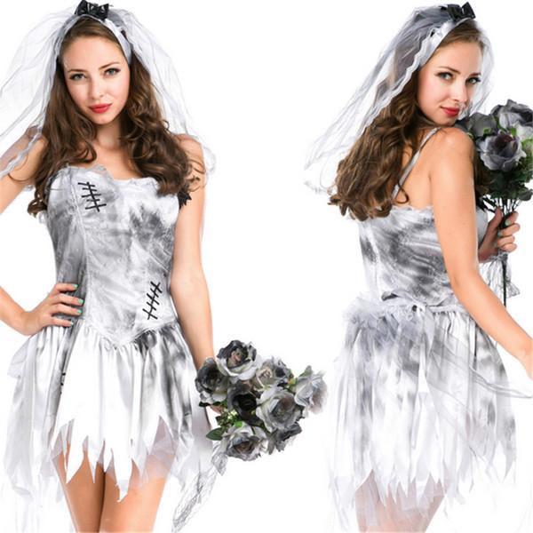 Ladies Giorno dei Morti Halloween Costume Morti Sposa Zombie Cadavere