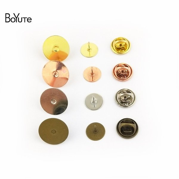BoYuTe 200Pcs 6 Colors Round 10MM 15MM Flat Base Brooch Pins with Butterfly Clasp Diy Jewelry Findings Components