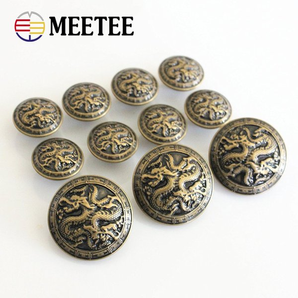 top popular meetee B3-17 Antiqued Bronze Metal Blazer Button Chinese Dragon For Blazer Suits Sport Coat Uniform Jacket Shank Buttons 2019