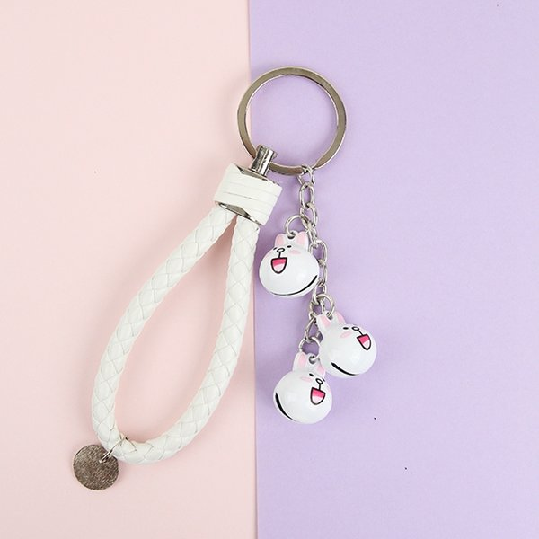 Doraemon Bear Brown Bunny Cony Hello Kitty Keychain Crystal Bell Trinket Metal Key Chains Car Bag Pendent Charm
