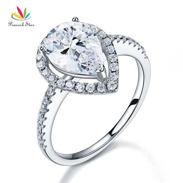 Peacock Star 2 Ct Pear Cut Ring Sterling 925 Silver Wedding Promise Anniversary Engagement Jewelry CFR8221 S18101608