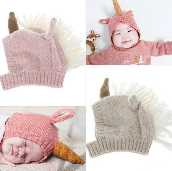 INS new Baby kids unicorn hats hand-weaving children tassel knitting beanie baby girls Ear Care Warm Wool cap children Accessories A01249