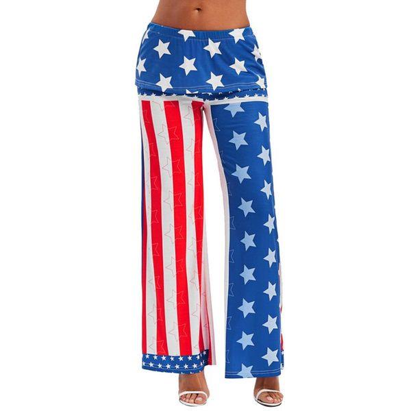 woweile # 5001 Fashion Womens High Rise American Flag Wide Leg Pants Leggings Loose Trousers