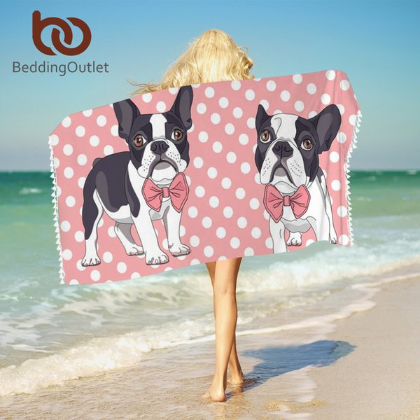 BeddingOutlet Bow Tie Bulldog Bath Towels Dot Pink Kids Cartoon Towel For Bathroom 150x75 Microfiber Dog Pug Yoga Mat toallas