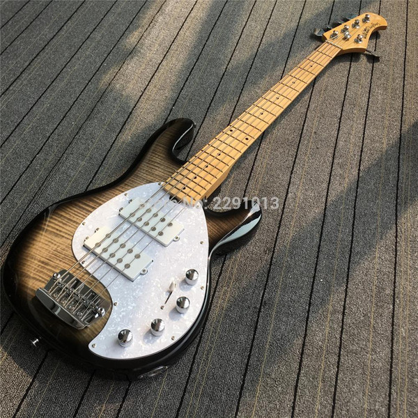 top popular Custom Music Man Ernie Ball StingRay Black Flame Maple Top 5 Strings Electric Bass Guitar 9V Battery Active Pickups White Pearl Pickguard 2021