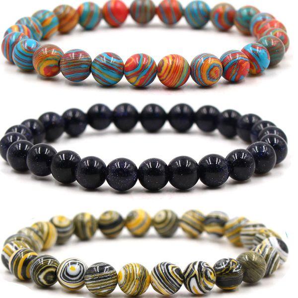 8mm multicolore malachite pierre naturelle perlée bracelets bracelets de brins de grès bleu pour les femmes prière de Reiki Bracelet drop ship