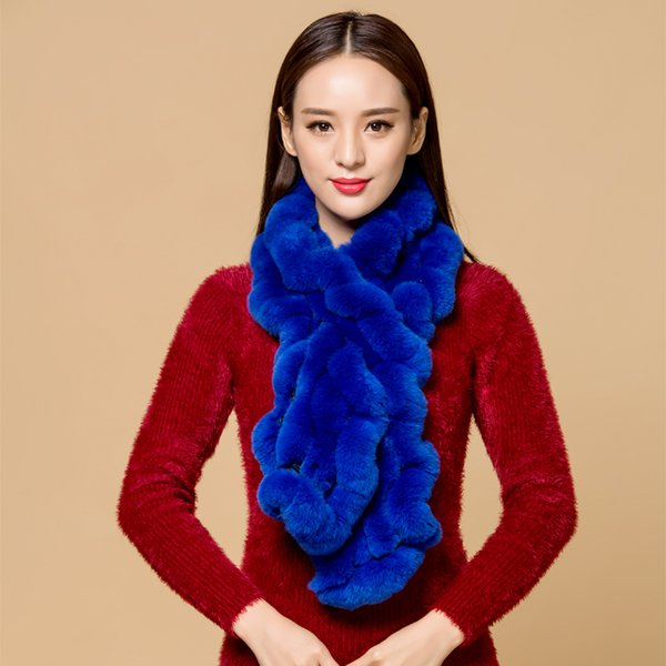 ZDFURS* High Quality Fashion Womens Knitted Rex Rabbit Fur Scarves Natural Fur Neckerchief Winter Real Fur Long Wraps C18110801