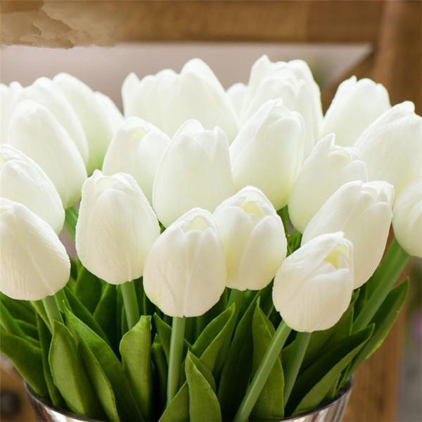 En gros 100 pcs Artificielle PU Tulipes Bouquet De Fleurs Réel Tactile Tulipes Fleurs Fête De Mariage Décor Simulation Tulipes Fleurs