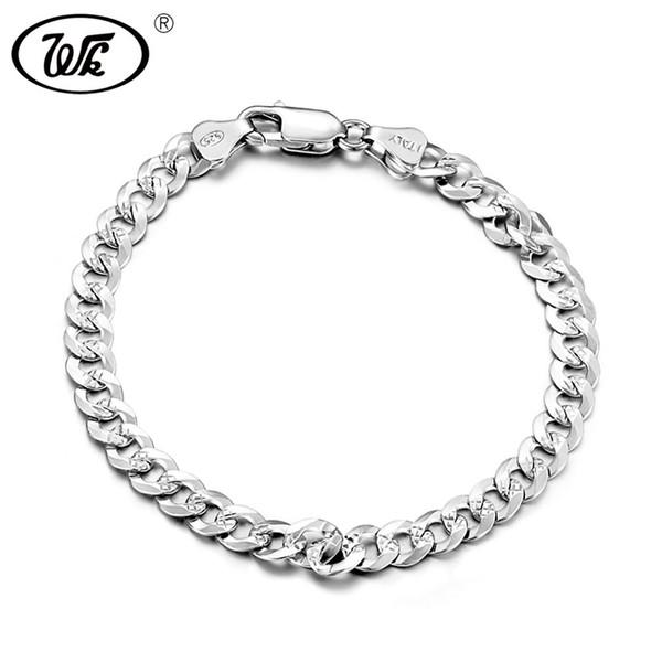 WK Genuine 925 Sterling Silver Bracelet Men Male Boys Hiphop Curb Cuban Hip Hop Hand Chain Link Mens Bracelets Wholesale T BM006 S18101308