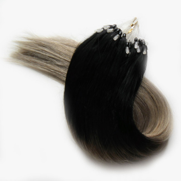 100g ash Blonde Hair Extensions 1B/Gray Silver ombre Micro Human Hair Extensions 100S Apply Natural Micro Link Hair Extensions Human