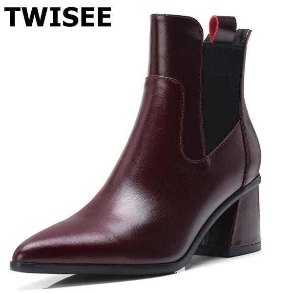 TWISEE orta buzağı çizmeler yeni stil zapatos mujer pompaları moda nokta toe toynak topuklar 5.5 cm kadın parti ayakkabı kayma