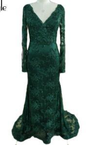 SoAyle Real Picture Vestidos de festa Dark Green Evening Dresses New Collection 2017 Prom Lace Beaded V-neck Long Sleeves Dress
