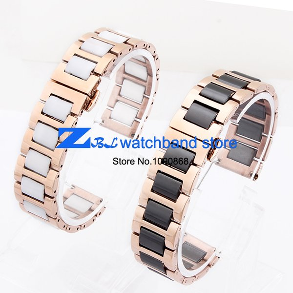 ceramic Bracelets and rose stainless steel watchband watch band Butterfly Buckle women wristband strap 12mm 16mm 18mm 20mm 22mm