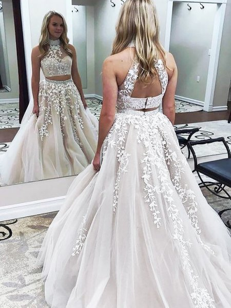 2019 A-Line Two Piece Prom Dresses Ivory Princess High Neck Sweep Train Tulle Lace Applique Beaded Arabic Evening Gowns Dresses In our store ,you find all kinds of bridal dress, evening dresses, prom dresses, cocktail dresses, bridesmaid dresses, party dresses, ,mother of the bridal dresses ,flower girl dresses!