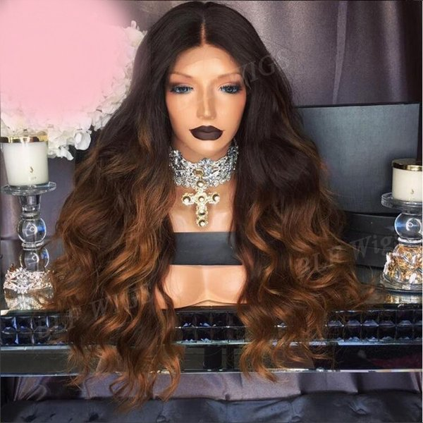 Attracive 100% unprocessed raw virgin remy human hair long #1bt30 ombre color body wave full lace cap wig for girl