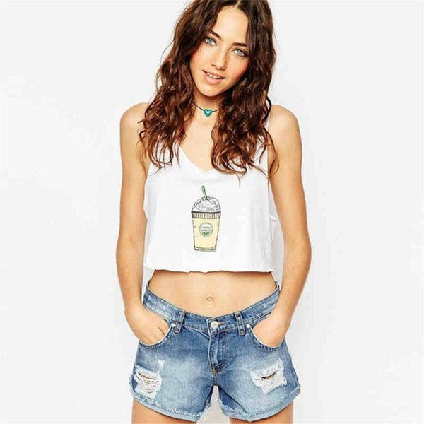 2018 Estate Sexy Low-cut Basic T-shirt Fashion Lady Canotta Solid cotone confortevole senza maniche scollo a V Top donna Vest