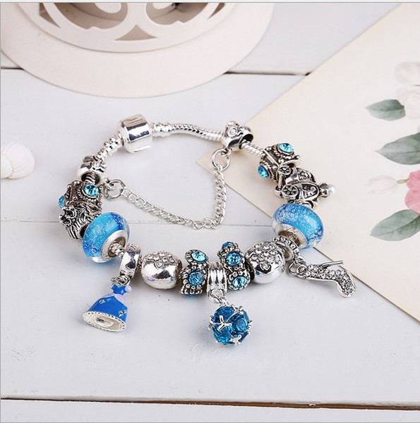 925 Sterling Silver Blue Charm Bead fit European Pandora Bracelets for Women Cinderella Crystal Shoe Charm Beads Snake Chain Fashion Jewelry