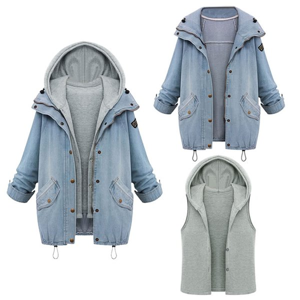 Fashion Women Two Piece Set Denim Jacket Hooded Vest Oversized Casual Coat Outerwear Light Blue Casual Coat Fastener Press Stud Placket
