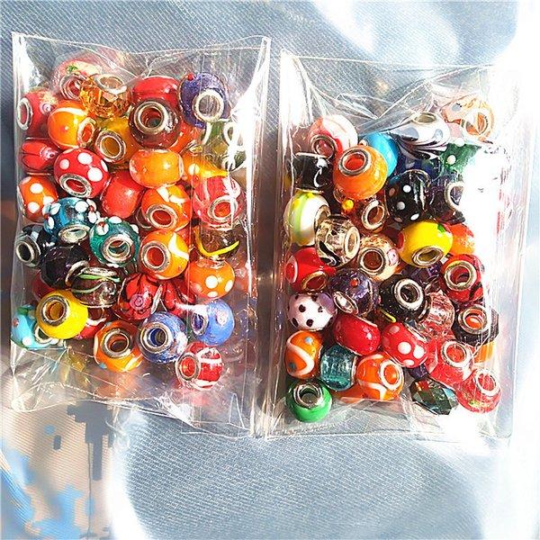 100 pcs encantos de contas de vidro Fit Pandora Pulseira ordem mista KKA2300