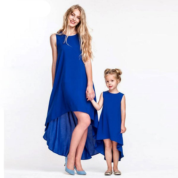Mother Daughter Dresses Family Matching Outfits Crew Blue Solid Behemian Ankle-length Mommy and Me Toddler Girls Clothing