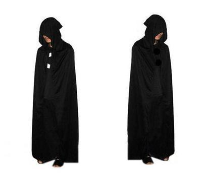 HOT Halloween Costume Theater Prop Death Hoody Cloak Devil Long Tippet Cape Black