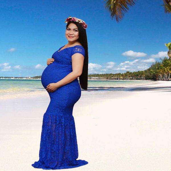 Compre Sirena Vestido De Maternidad Foto V Cuello De Encaje Largo Embarazo Vestido Mujer Embarazo Fotografía Vestido Para Baby Shower A 1499 Del