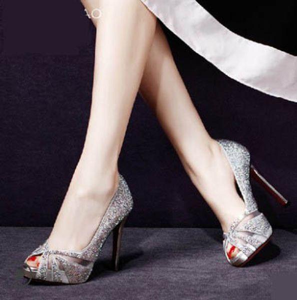 11cm sexy stiletto heel peep toe fish mouth platform diamond sliver white color bridal wedding party shoes 492