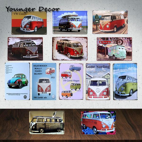 Старинные бренд домашнего декора автомобиль автобус Фольксваген Комби хэтчбек знаков металла живопись плакат бар паб гараж олово листового металла, доска YA089