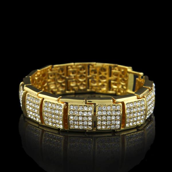 18k gold New Arrive Mens Bling Bling Hip Hop Bracelet Iced Out 21.5cm Long Link Chain Bracelets for Men Jewelry
