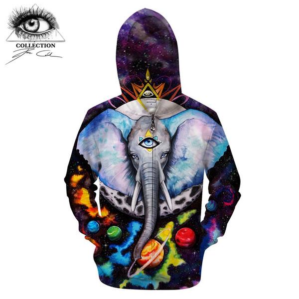 Alien elePhant By Pixie cold Arts 3D Zip Hoodies Men Zipper Hoody Anime Sweatshirt Groot Tracksuit Pullover Coat Brand DropShip
