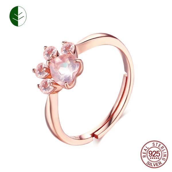 Großhandel 925 Silber Bärentatze Cat Paw Open Einstellbare Ring Rose Gold Hund Pfote Ringe Für Frauen Hochzeit Rosa Kristall Cz Katze Liebhaber