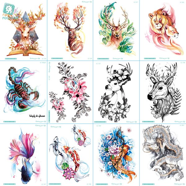 e14baed28be11 ... Temporary Tattoos ;. LC-524-851 2018 New Big Body Art HD Tatoo Sticker  Waterproof Colorful Deer