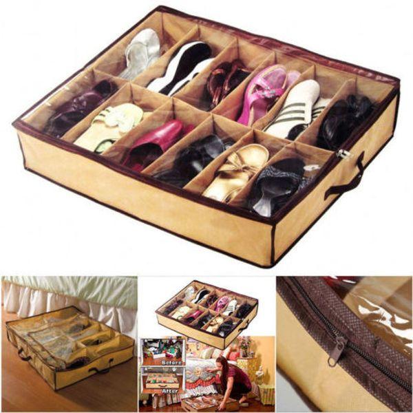 12 Pair Under Bed Shoes Non-Woven Storage Closet Organizer Boxes Shoe Shelves Storage Box Organizador Furniture Home Decor