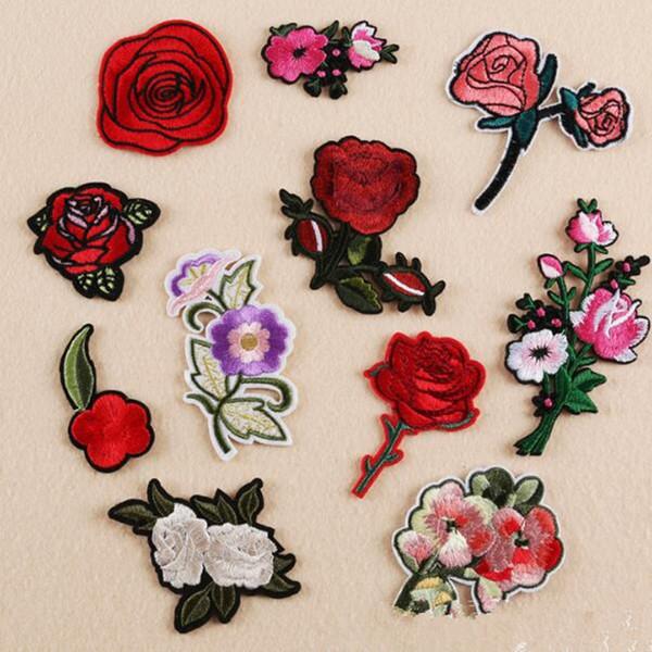 Rose Blume Patch DIY alle Arten von Eisen auf Patches für Kleidung Hosen Hut Hand Tasche Aufkleber bestickt süße romantische Patches Applique F001