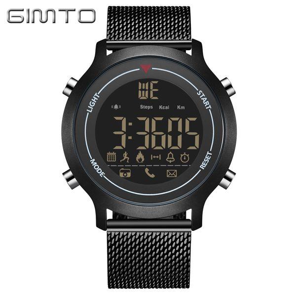 X GIMTO Luxury Black Sport Smart Watch Waterproof Clock Digital Bluetooth Pedometer Calories Smartwatch LED electronic wrist watch