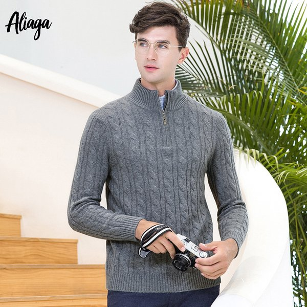 2018 New Brand 100% Cashmere Sweater Men Turtleneck Zipper Pullover Ribbed Knitwear Winter Men Casual Korean Sweater Plus Size