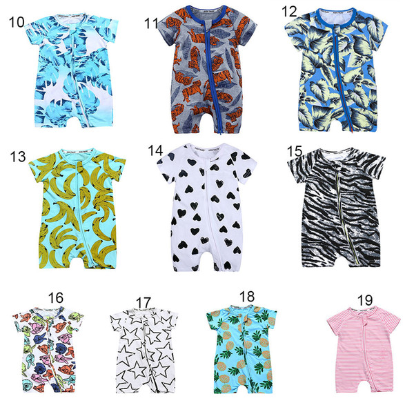 best selling Baby boys girls Pineapple Floral fruit Romper INS Newborn flower striped Zipper Dinosaur Jumpsuits summer kids Climbing clothes 43styleC4317