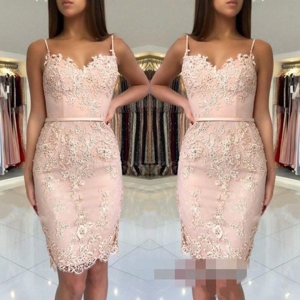 2018 Cheap Blush Pink Homecoming Dresses Lace Appliques Short Mini Spaghetti Straps Sashes Sheath Sweetheart Party Graduation Cocktail Gowns