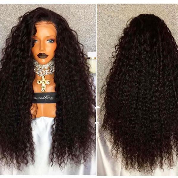 I più venduti parrucche ricci crespi marrone scuro con i capelli del bambino 180% densità densità completa parrucche sintetiche del merletto anteriore per le donne spedizione gratuita