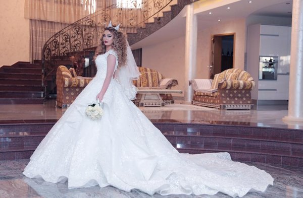 2019 White Lace Ball Gown V Neck Plus Size Wedding Dresses Beaded Long Train Wedding Gowns South Africa With Beads