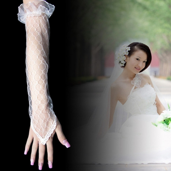 Wholesale bridal wedding dress fingerless yarn long gloves beige net lace hook summer hand sleeve factory direct sales