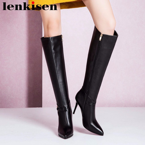 Lenkisen pop european stars pointed toe zipper large size super hight heels cow leather balck color women knee-high boots L92