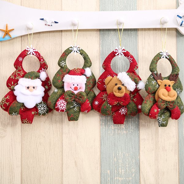16*12cm Christmas Tree Pendants Stereoscopic Santa Claus Non-woven Fabric Ornaments Family Party For Decor arvore de natal Xmas