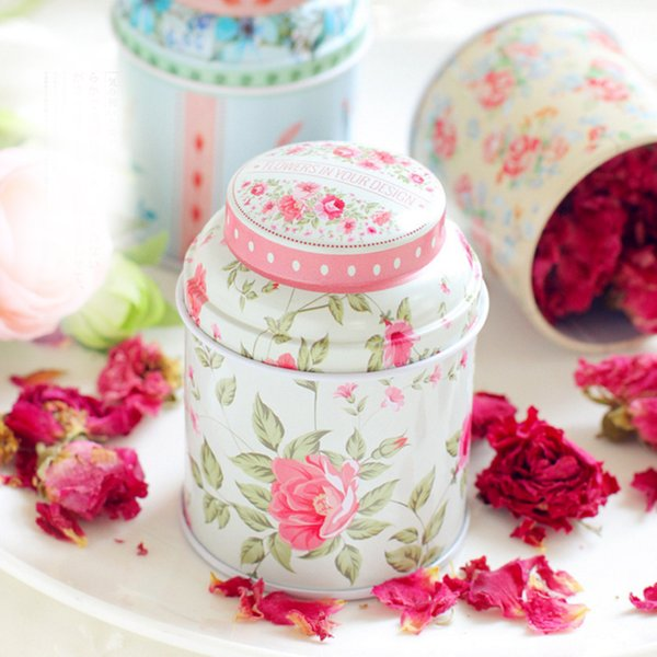 1pcs Vintage Style Print Flower Series Metal Tea Box Cute Tin Box Round Home Storage Case Iron Candy Container Gift free shipping