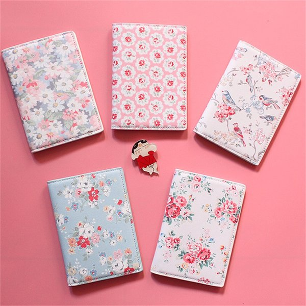 The flowers and birds Passport Holder For girls, Thick PU Leather Travel Passport Cover ID Card Holder, Size:14*10CM